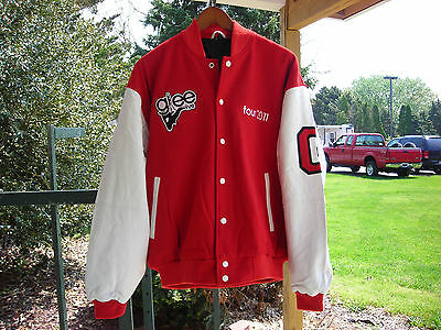 Brand New Glee Jacket- Red Wool Body with White Leather Sleeves 2007 Tour