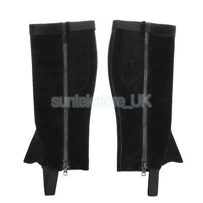 Suede Leather Adult Half Chaps Gaiters for Outdoor Horse Riding Equestrian M-XL