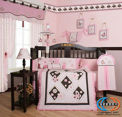 15PCS Pink Brown Butterfly CRIB BEDDING SET - Including Mobile and Lamp Shade