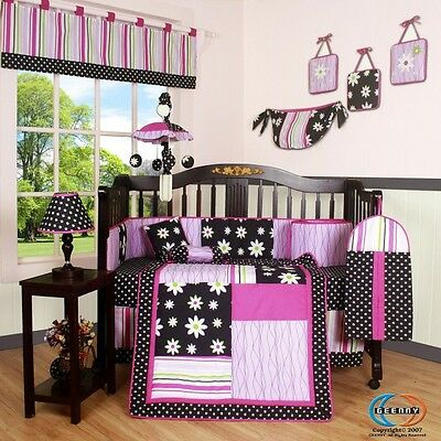15PCS Charming Flower CRIB BEDDING SET - Including Mobile and Lamp Shade