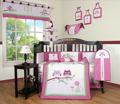 15PCS Entranced Forest GEENNY CRIB BEDDING SET - Including Mobile and Lamp SHADE