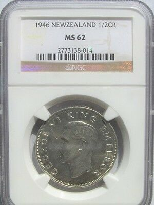 New Zealand 1946 Half Crown 2/6 NGC MS 62 Last Silver Lots of Luster