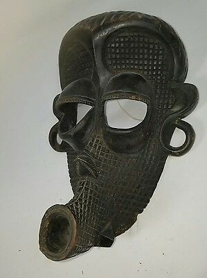 IMPRESSIVE Authentic Antique Carved African Tribal Mask  Africa Art Wall Decor