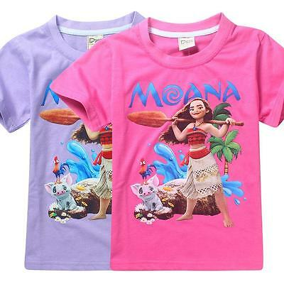 New Moana Girls Children Summer Short Sleeve  T-shirt Tee Top Shirt