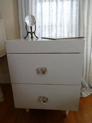 Mid Century White Side Table Night Stand Clear Glass Knobs