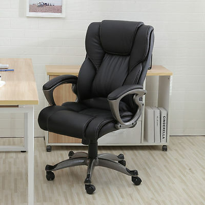 Office Chairs Cheap Black PU Leather High Back Ergonomic Computer Desk Tilting
