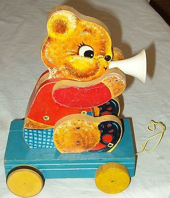**cool Vintage 1957 Teddy Tooter Pull Toy**