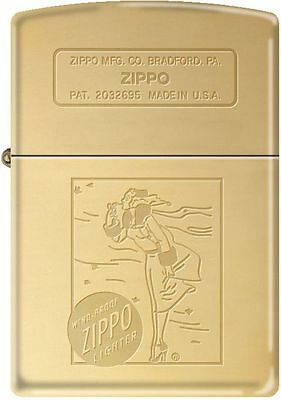 Zippo 1936 Vintage Windy Girl Engraved Polished Brass Windproof Lighter NEW RARE