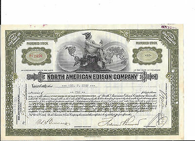 North American Edison --1926--Stock Certificate---Stamps