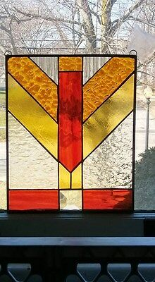 Stained glass,leaded glass,geometric,window,frank lloyd wright,hand crafted,usa
