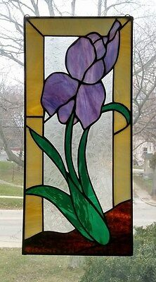 IRIS,Stained glass,leaded glass,home decor,window panel,hand crafted,flower,usa
