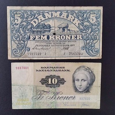 Denmark paper money lot  2 banknotes  Actually picture