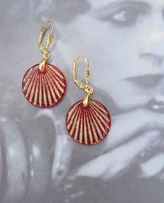 Art Deco/at Nouveau Red And Gold Small Drop  Earrings Retro Bridal