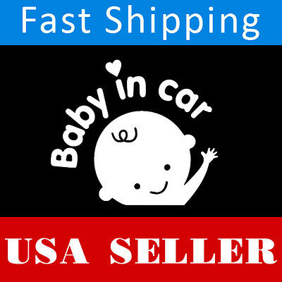 WHITE Baby on Board face decal window sticker for Van Suv Car Custom Vinyl kids