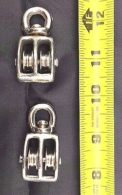 "LOT of 2 3/4"" DOUBLE WHEEL SWIVEL PULLEY BLOCK PULLEYS SNATCH HOBBY ARTS CRAFTS"