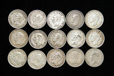 1939-1960 Canada Quarter 25C Lot of 15 Silver Canadian Coins