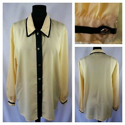 Vintage Secretary Career Blouse by Marble Yellow w/ Black Sz M Knot Buttons EVC