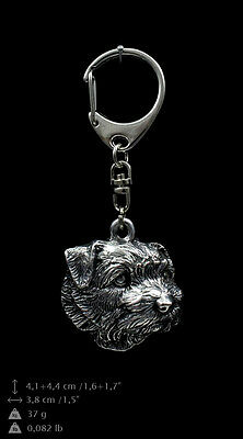 Norfolk Terrier silver covered keyring, high quality keychain Art Dog