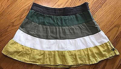 American Eagle Women's Skirt Size 2 Green Striped Casual Dressy Party Cotton
