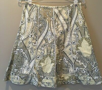 Ann Taylor Petites Green Multi Color Floral A Line Skirt Size 2p Lined