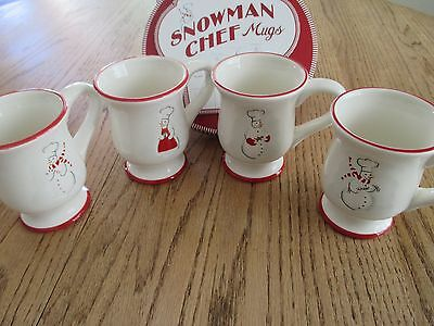 Williams Sonoma Snowman Chef Coffee Tea Mugs Set of 4 Brand New in Box