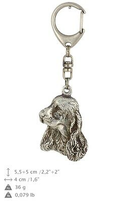Clumber Spaniel silver covered keyring, high quality keychain Art Dog