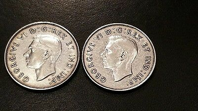 TWO 1942 Canadian Silver 50 Cent Coins