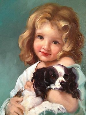 Barnes Oil Painting Vintage Antique Style Girl Portrait King Charles Spaniel Dog