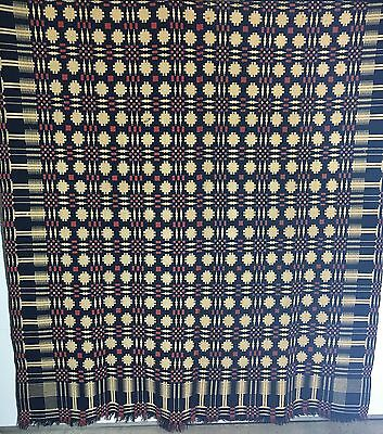 Highly Detailed/Complex Design Early 19th Century Double Weave Coverlet