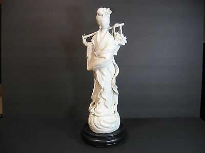 """KWAN YIN Chinese Goddess of Mercy Porcelain Figurine Statue 13.5"""", Stand, Marked"""