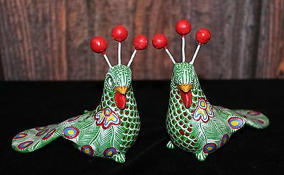 Colorful Pair of Hand Made Peacocks Mayan Pottery from Chiapas Mexico, Folk Art