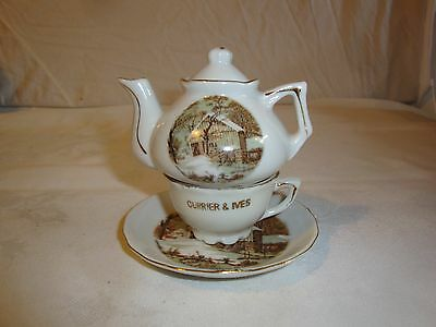 Currier And Ives Mini Stacking Teapot Tea Cup The Old Homestead In Winter