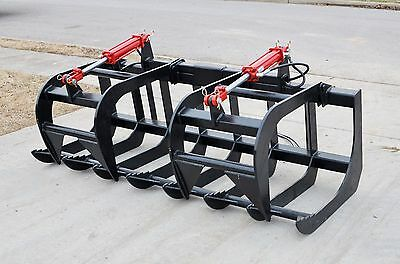 "Skid Steer Loader Attachment 72"" Dual Cylinder Root Grapple Bucket - Free Ship!"