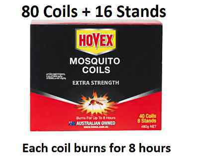 80 Mosquito Coils + 16 Stands Extra Strength Australian Company Hovex Repellant