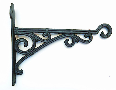 Cast Iron Ornate Hanging Flower Basket Bracket Hook in 3 colours (28cm)