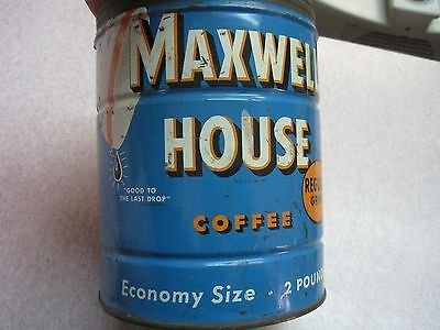 Vintage Antique Collectible Maxwell House Coffee two Pound Advertising Tin Can