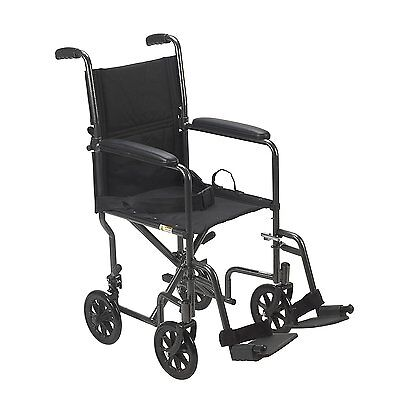 "Drive Medical Lightweight Steel Transport Wheelchair Fixed Full Arms 19"" Seat"