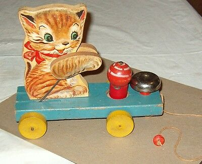 ***rare Vintage 1950 Kitty Bell Pull Toy***