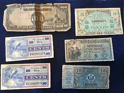4 U.S. Military Payment Certificates and two Japanese note peso and yen