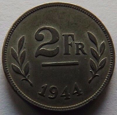 1944 Belgium 2 Francs! Very High Grade! One Year Coin! Allied Occupational Issue