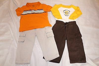 Two Boys Outfits, 18-24 Months, 2 Pants, 1 Polo, 1 Bodysuit, GUC