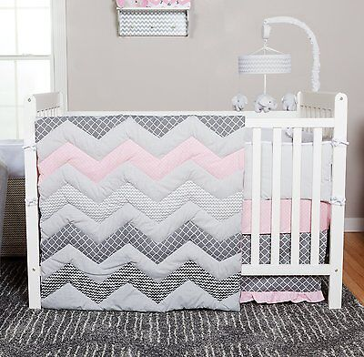 Trend Lab Chevron Bedding Set 3 Piece Cotton Candy Baby Girl Nursery Crib New
