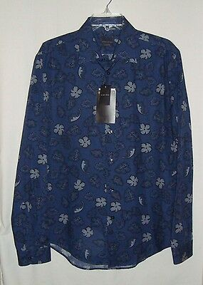 NEW w/Tags ZARA MAN Slim Fit Blue Floral Cotton Long Sleeve Mens Shirt Size L