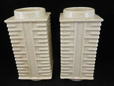 Pair of Chinese (marked China) Crackle Glaze Cong Vases