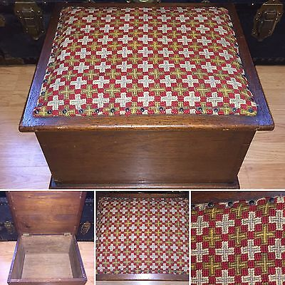 Antique Victorian Era Hassock Footrest Stool Bench Needlepoint Top Wood