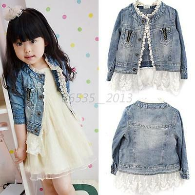 Baby Toddler Kid Girl Denim Jean Coat Outwear Top Lace Botton Cowboy Jacket 2-7Y