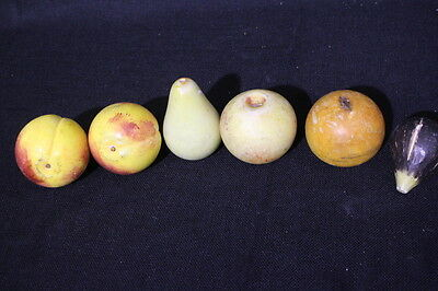 6pc Vintage Italian Alabaster Marble Stone Fruit: Fig Pear Peach Apple Orange