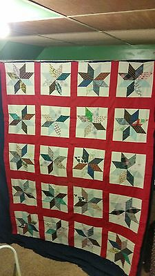 """Nice Vintage Star Quilt Top  67"""" by 86"""" Multi-Color Tops Blocks Patchwork"""