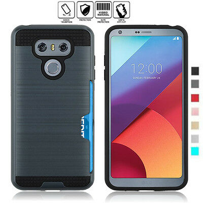 ShockProof Armor Hybrid Rubber Brushed Card Pocket Hard Case Cover for LG G6