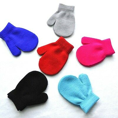 Autumn Winter Toddler Kids Baby Boy Girl Cute Soft Knitting Mittens Warm Gloves